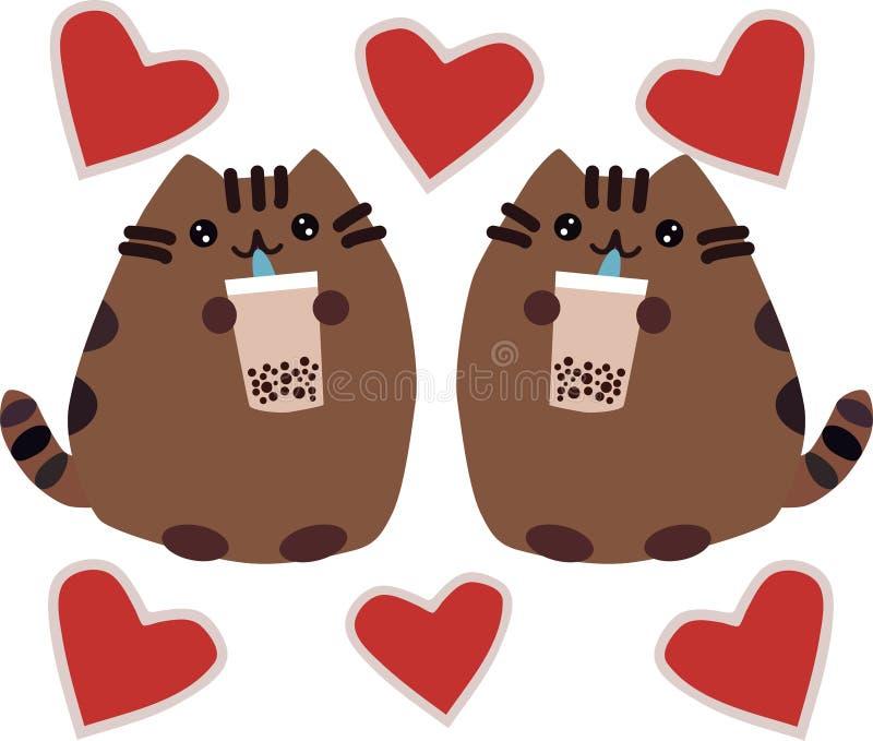Gato lindo del jengibre: comiendo la comida, la comida, mastica, emoción hambrienta, sosteniendo la galleta ilustración del vector