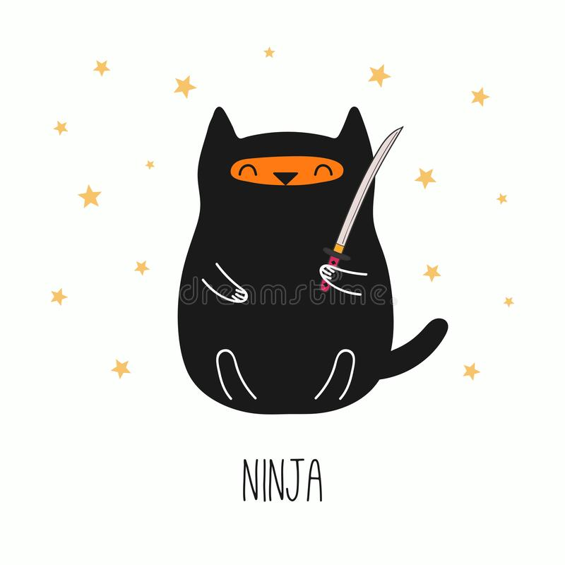Gato lindo del ninja stock de ilustración