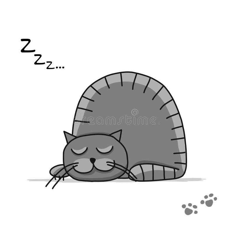 Gato lindo el dormir, bosquejo para su diseño libre illustration