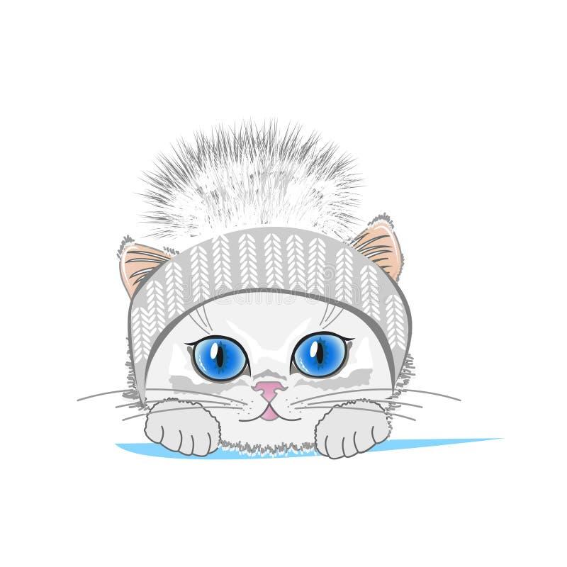 Gato lindo en un sombrero del invierno con el bubón ilustración del vector
