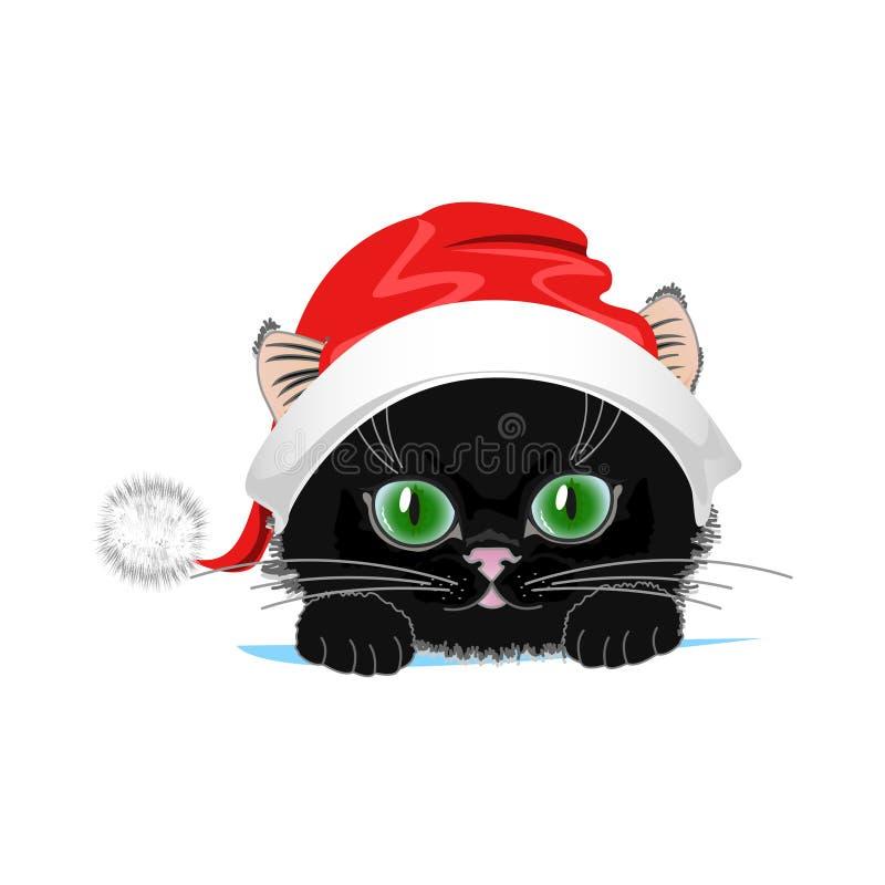 Gato lindo en un sombrero del invierno con el bubón libre illustration