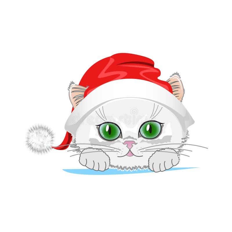 Gato lindo en un sombrero del invierno con el bubón stock de ilustración