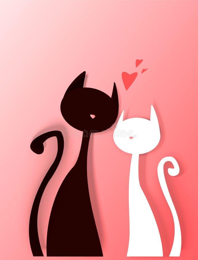 Gato lindo, impresión de la camiseta, día del ` s de la tarjeta del día de San Valentín, dibujo animal, personaje de dibujos anim libre illustration