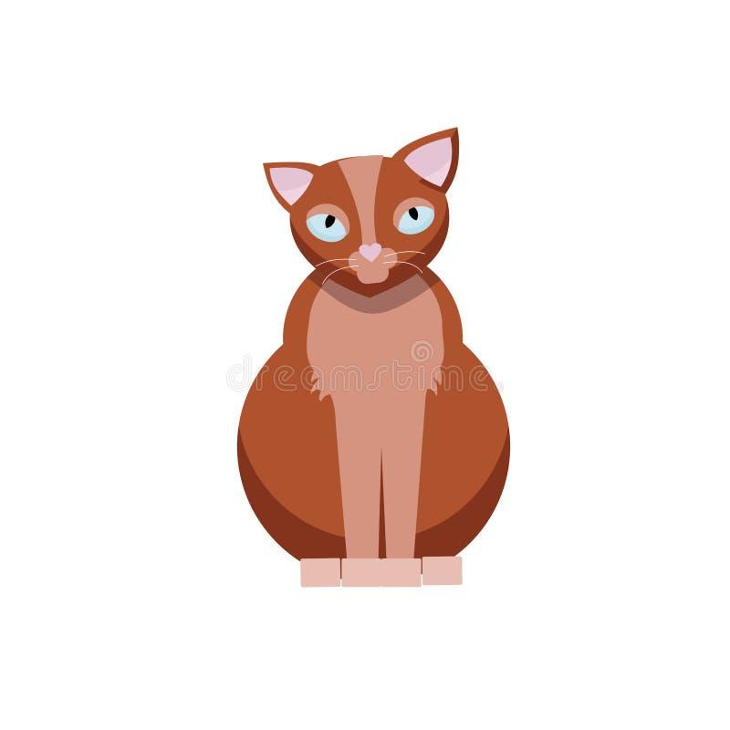 Gato lindo que se sienta Illustraton plano del vector de la historieta del gatito de Brown aislado en el fondo blanco stock de ilustración
