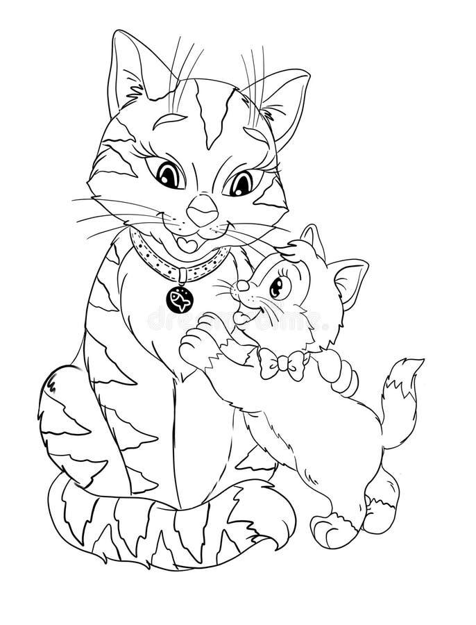 Gato listrado grande e gatinho pequeno coloração isolada dos desenhos animados ilustração do vetor