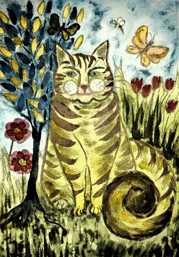 Gato listrado rústico do gengibre com a árvore de vida ilustração royalty free