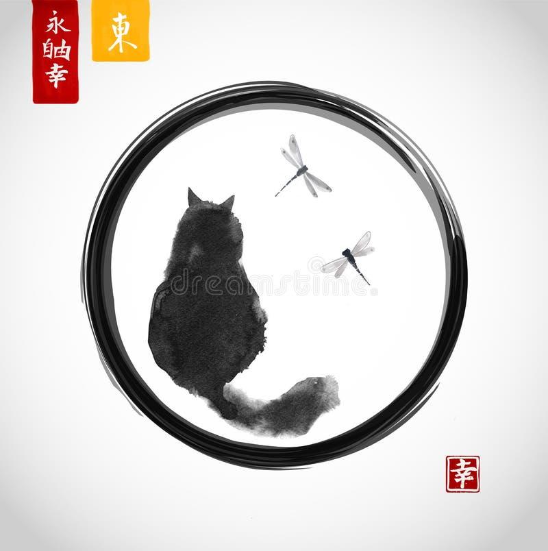 Gato macio preto que olha sobre libélulas no círculo preto do zen do enso Sumi-e japonês tradicional da pintura da tinta ilustração royalty free