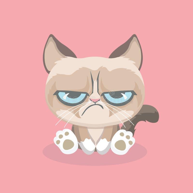 Gato mal-humorado bonito ilustração royalty free