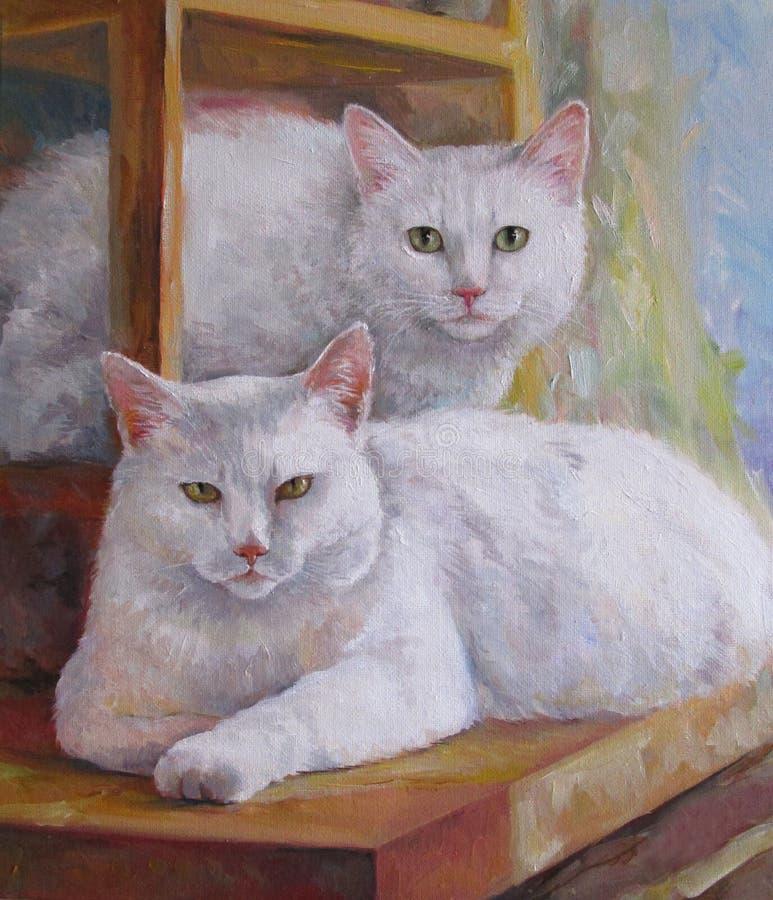 Gato-mamá y gato-hija ilustración del vector
