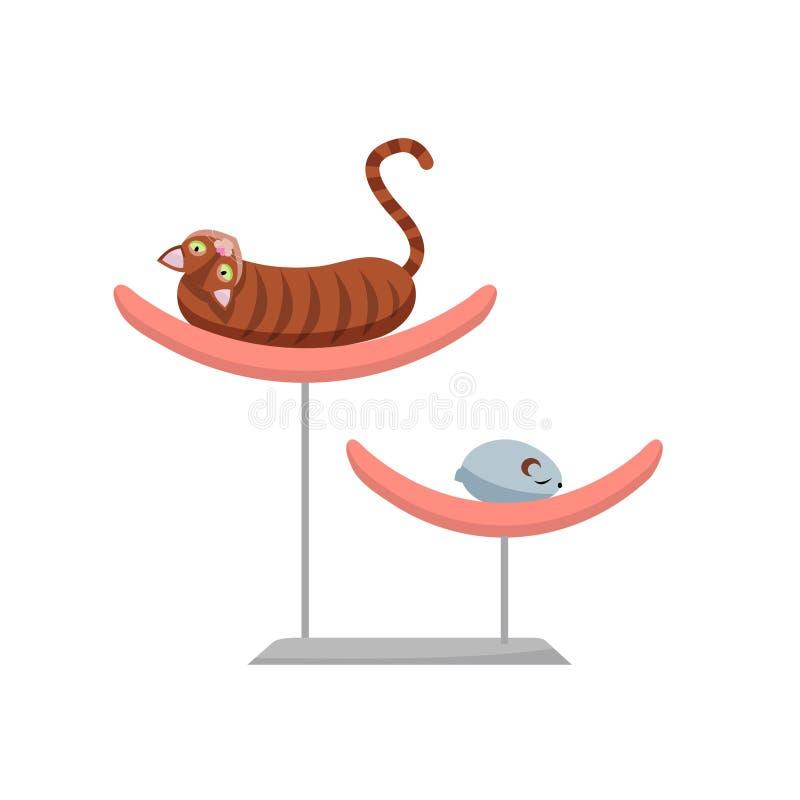 Gato marrón perezoso que miente en la cama del animal doméstico, mentiras divertidas del gato en una cama de moda con un ratón de stock de ilustración