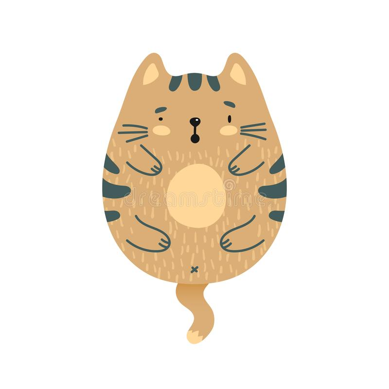 Gato marrón sorprendido garabato ilustración del vector