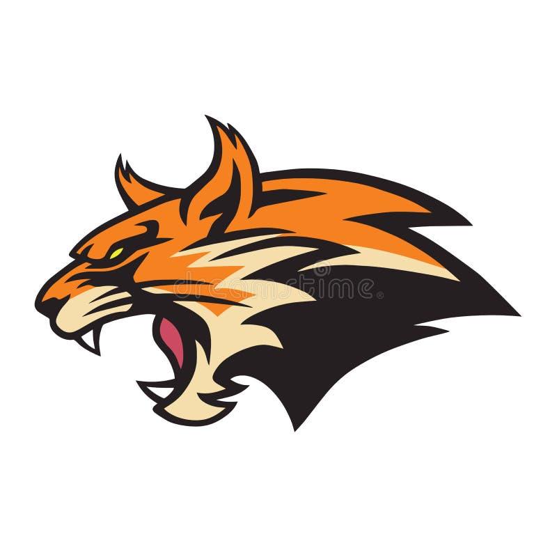 Gato montés enojado Logo Mascot Vector Illustration del lince stock de ilustración