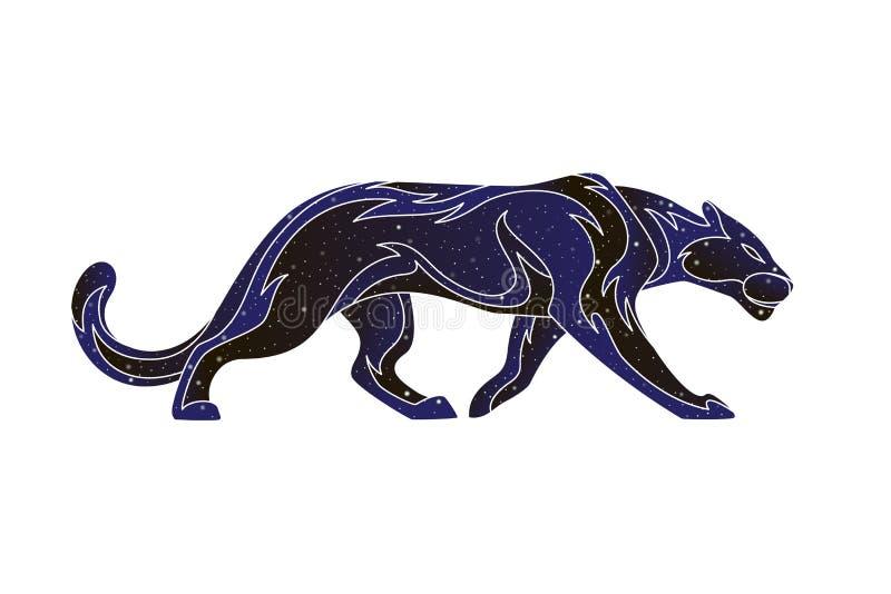 Gato montés estilizado de la pantera del esquema Línea ejemplo animal, silueta del vector del color del cielo nocturno aislada en stock de ilustración