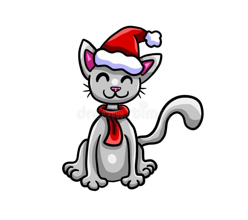 Gato muito adorável do Natal feliz ilustração do vetor