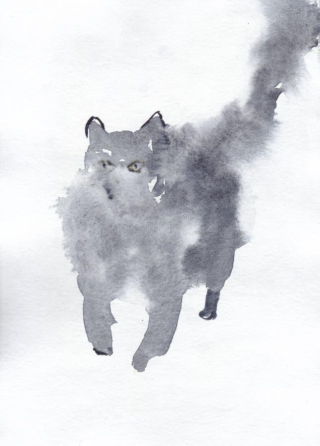 Gato mullido de la pintura de la acuarela en color gris ilustración del vector