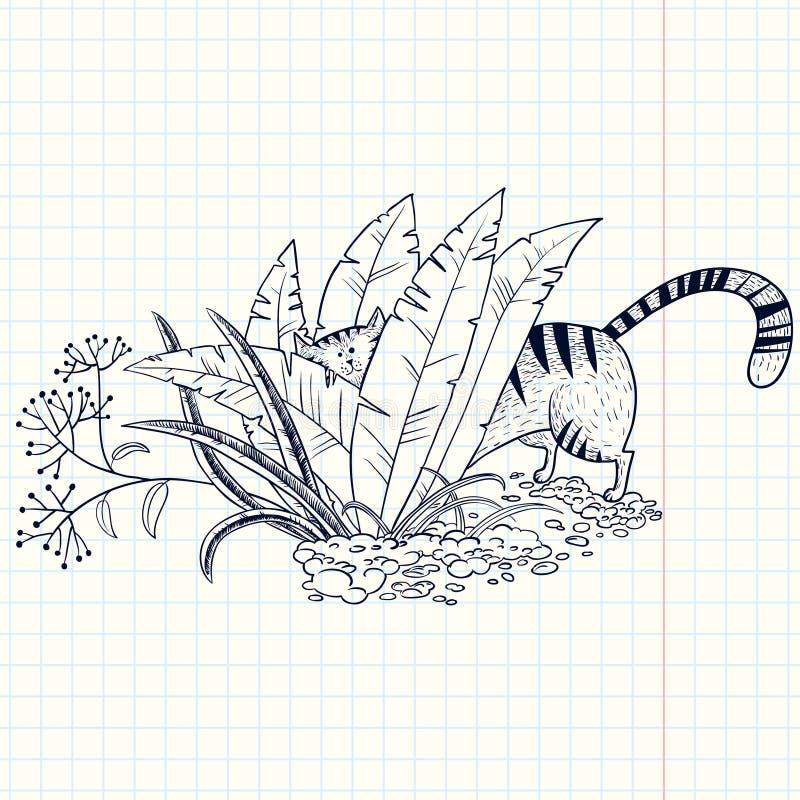 Gato na grama ilustração royalty free