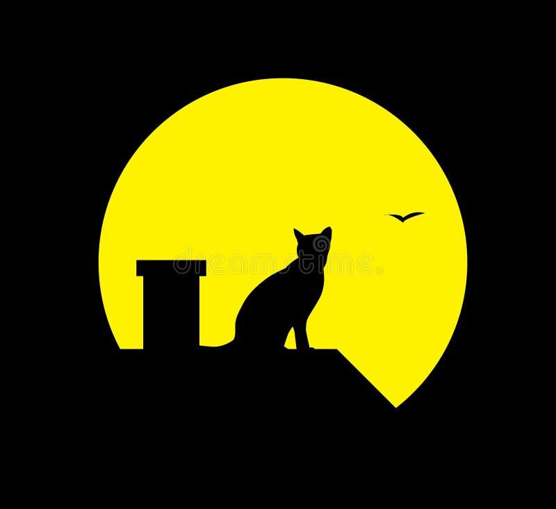 Gato na lua ilustração stock