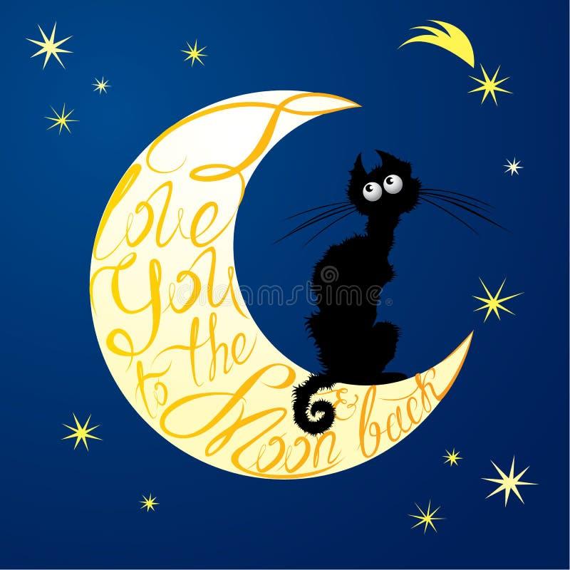Gato na lua Texto caligráfico para seu convite ou feriado c ilustração do vetor