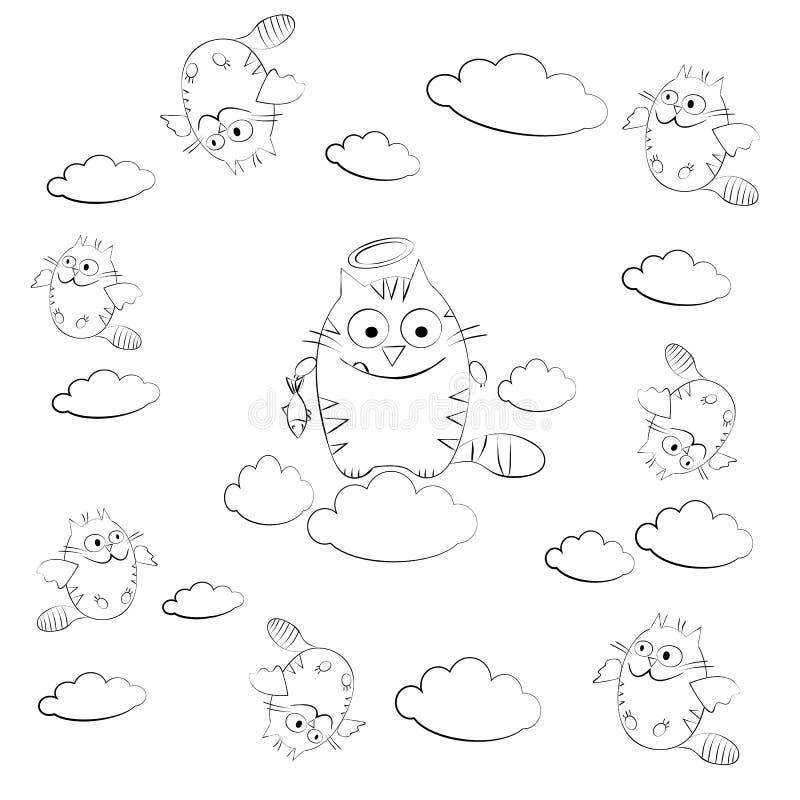 Gato nas nuvens cercadas pelo gato de voo ilustração stock