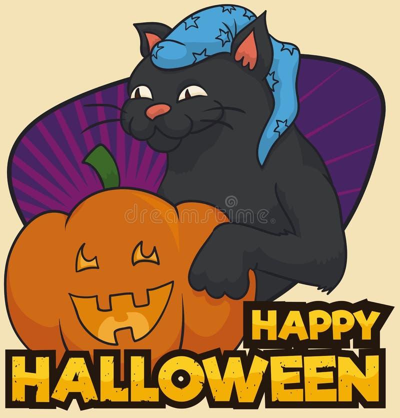 Gato negro con el sombrero y la calabaza sonriente que celebra Halloween, ejemplo del vector libre illustration