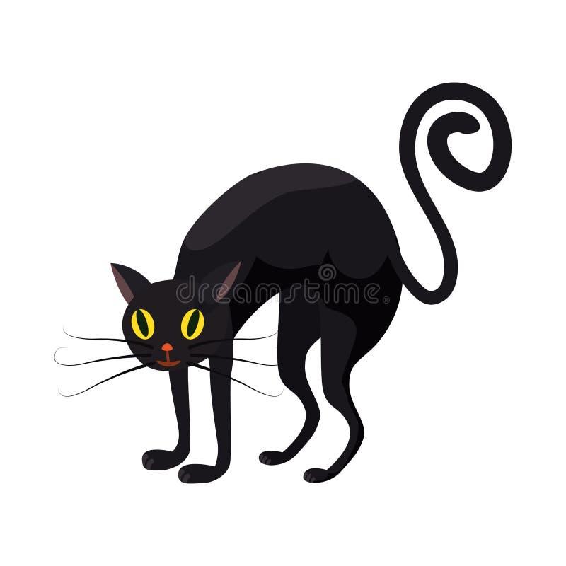 Gato negro, día de fiesta Halloween, carácter, cualidad, icono, vector, ejemplo, aislado, styyle de la historieta ilustración del vector