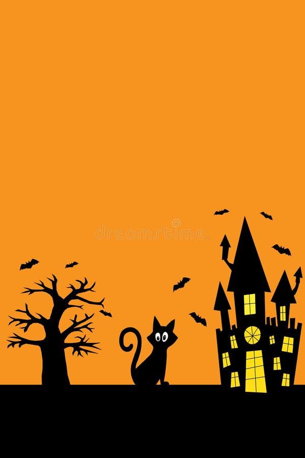 Gato negro de Halloween, castillo espeluznante, murciélagos, sobre un fondo naranja libre illustration