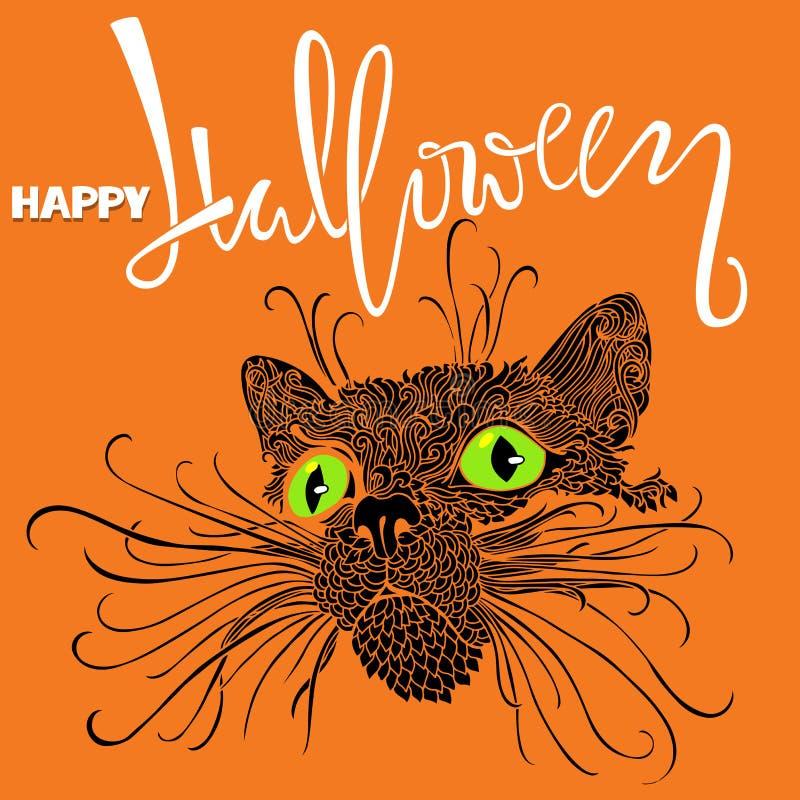 Gato negro de Halloween con los ojos verdes Estilo del modelo de la mandala Tarjeta de letras manuscrita del feliz Halloween Vect stock de ilustración