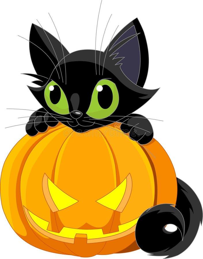 Gato negro de Víspera de Todos los Santos ilustración del vector