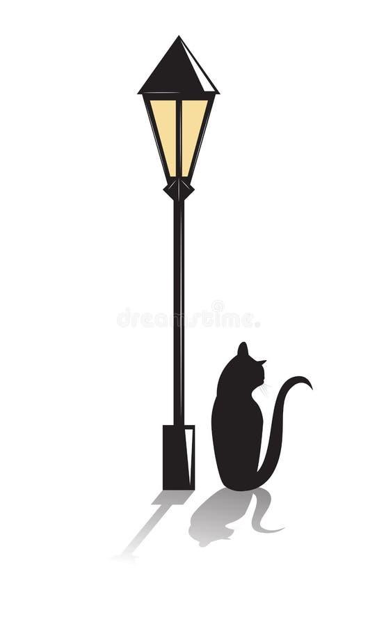 Gato negro debajo de una linterna libre illustration