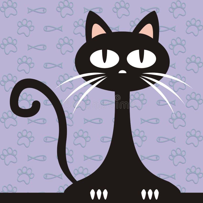 Gato negro, ejemplo divertido del vector y fondo con los pescados y las patas stock de ilustración