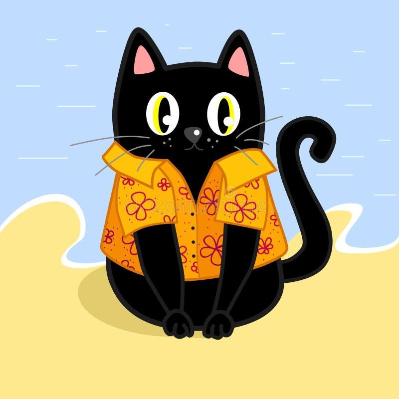 Gato negro en camisa hawaiana amarilla en la playa stock de ilustración