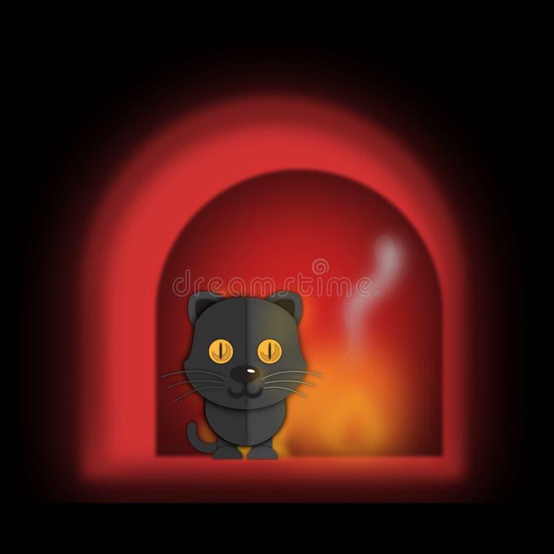 Gato negro en casa fotografía de archivo
