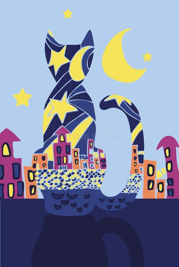 Gato negro en la noche Silueta abstracta de un gato y de una ciudad de la noche stock de ilustración