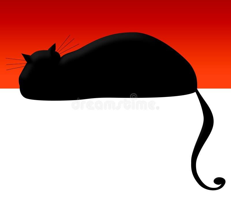 Gato negro en rojo ilustración del vector