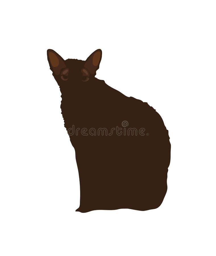 Gato negro en un fondo blanco Ilustración stock de ilustración