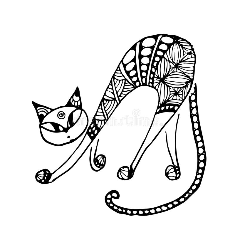 Gato Negro, Estilo Del Zentangle Para Su Diseño Ilustración del ...