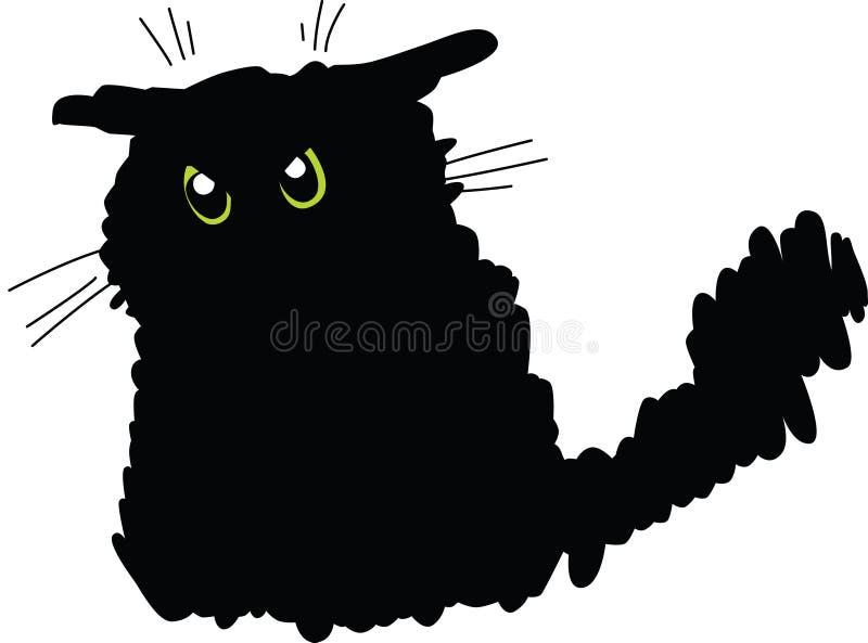 Gato negro gruñón ilustración del vector