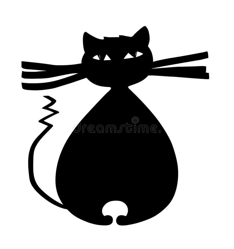 Gato negro grueso con las barbas grandes y el ejemplo curvado de la historieta de la cola ilustración del vector