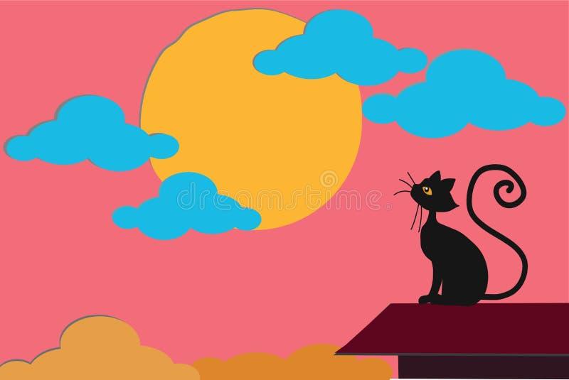 Gato negro hermoso que mira el ajuste del sol en el cielo nublado rosado, en el top del tejado del hogar stock de ilustración