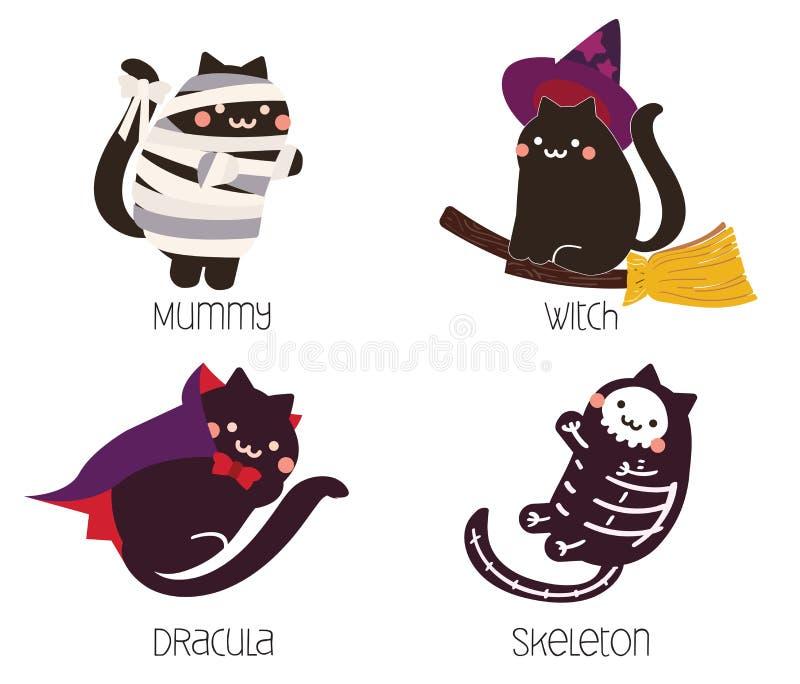Gato negro lindo en el traje de Halloween; momia, bruja, Drácula, diseño de carácter esquelético ilustración del vector