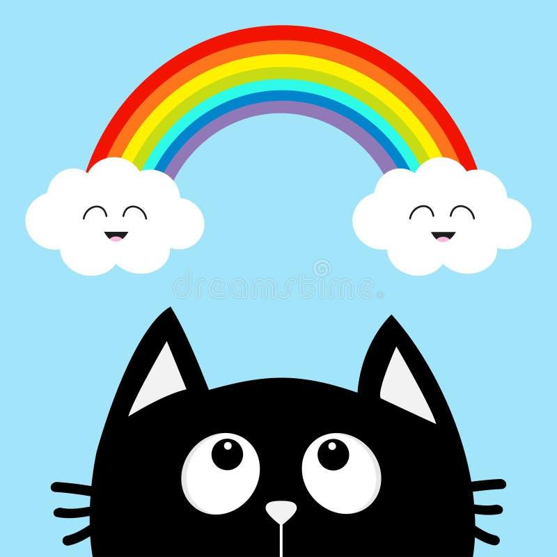 Gato negro que mira para arriba a la nube y al arco iris con la cara sonriente Personaje de dibujos animados lindo Rose roja Anim stock de ilustración