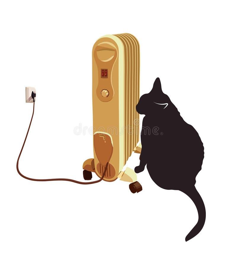 Gato negro que toma el sol cerca del calentador Ilustración del vector libre illustration