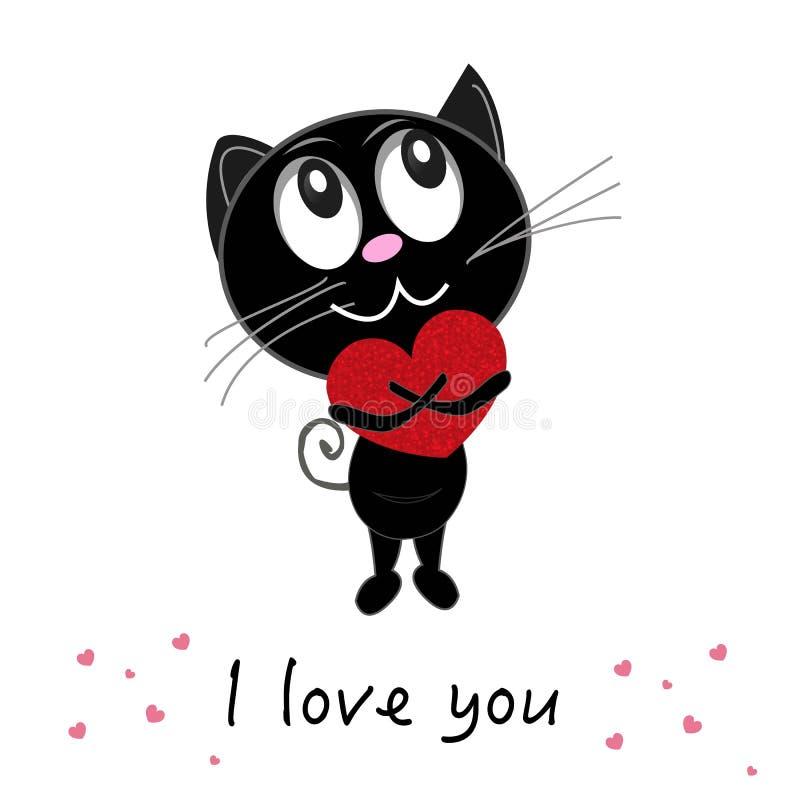 Gato negro romántico lindo que lleva a cabo el corazón brillante rojo `` te quiero `` texto Tarjeta de felicitación feliz del día libre illustration