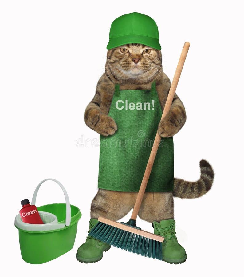 Gato no avental com vassoura e cubeta ilustração do vetor
