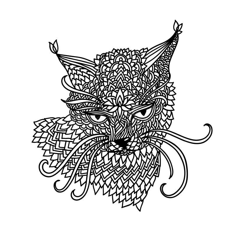 Gato no estilo do teste padrão da mandala Fundo preto e branco de Zentagle Livro para colorir adulto Ilustração do vetor ilustração do vetor