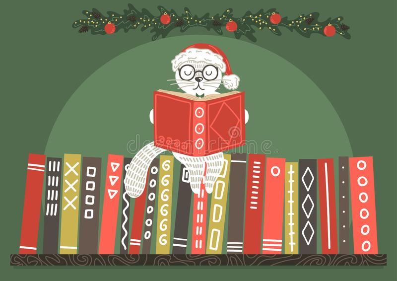 Gato no livro de leitura do chapéu do Natal ilustração stock