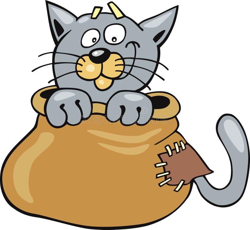 Gato no saco ilustração stock
