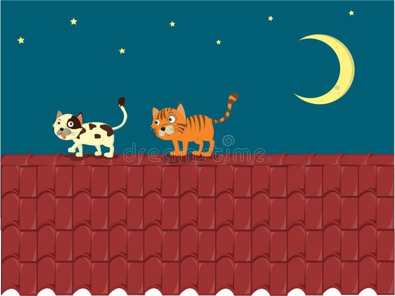 Gato no telhado ilustração stock
