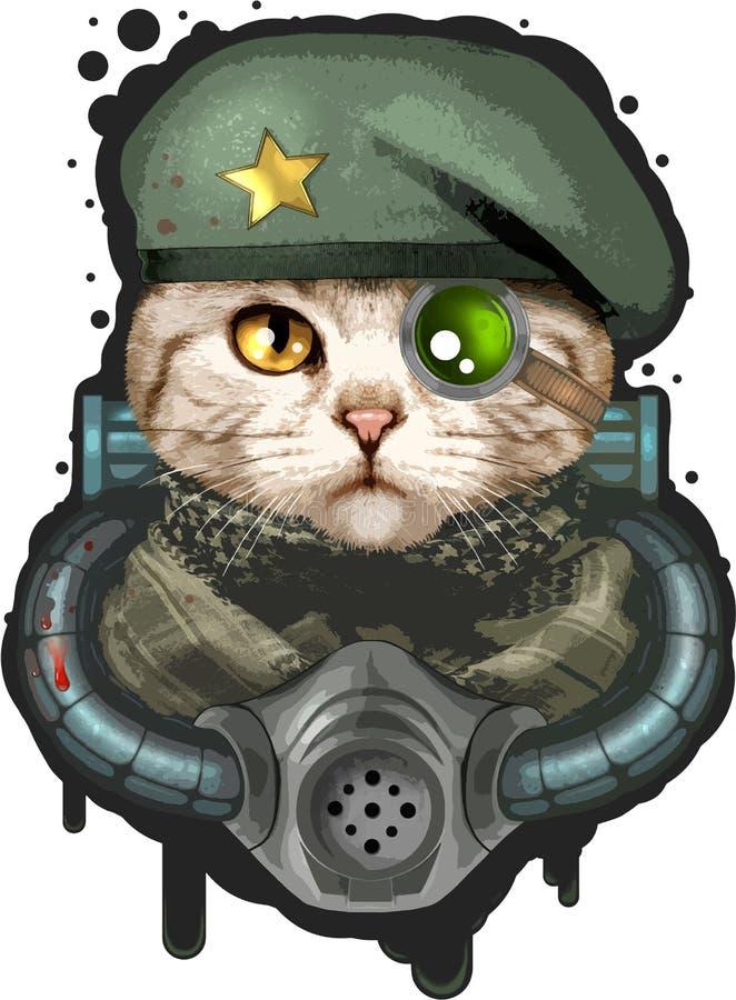 Gato no uniforme militar, ilustração engraçada ilustração stock