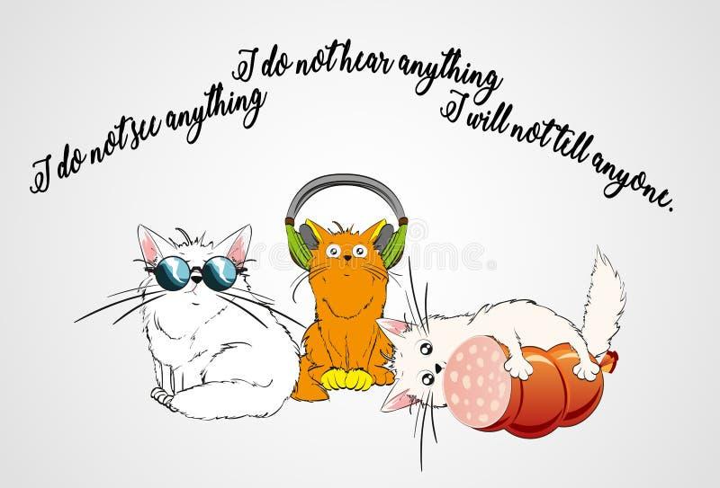 Gato nos vidros Gato nos fones de ouvido Gato com salsicha ilustração do vetor
